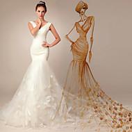 트럼펫 / 머메이드 웨딩 드레스 - 쉬크&모던 코트 트레인 V-넥 오간자 와