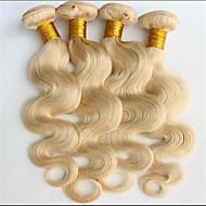 3pcs / lot cheveux blonds de vague de corps 8a de platine, brésiliens vierges cheveux 3 faisceaux, longueur 8-34inch mixte, les poils non