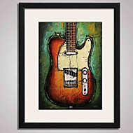 Black Frame Abstract Guitar Painting Canvas Print Art for Wall Decoration  40x50cm Ready To Hang