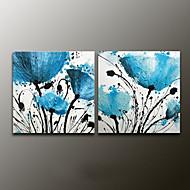 מצויר ביד פרחוני/בוטנימודרני שני פנלים בד ציור שמן צבוע-Hang For קישוט הבית