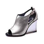 Women's Shoes Cowhide Wedge Heel Heels / Peep Toe / Fashion Boots Sandals Wedding / Party & Evening Black / Silver