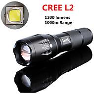 Lampes Torches LED LED 5 Mode 1200 lumens LumensFaisceau Ajustable / Rechargeable / Résistant aux impacts / Surface antidérapante /