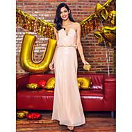 Formal Evening Dress - Pearl Pink Plus Sizes / Petite Sheath/Column Strapless / V-neck Floor-length Sequined