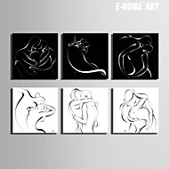 E-HOME® Stretched Canvas Art Line People Kissing Series Decoration Painting MINI SIZE One Pcs