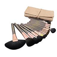 Set di pennelli da trucco professionali, setole naturali di capra, 20 pezzi, portapennelli incluso (3 colori disponibili)