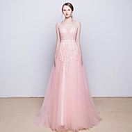 Cocktail Party / Formal Evening Dress - Blushing Pink V-neck Sweep/Brush Train Tulle