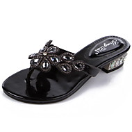 Women's Shoes Leather Chunky Heel Slingback / Toe Ring Sandals Party & Evening / Dress / Casual Black