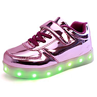 Kid Boy Girl Upgraded Patent Leather LED Light Sport Shoes Flashing Sneakers USB Charge More Colors Available Purple / Silver / Gold