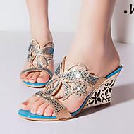 נעלי נשים - סנדלים / בלרינה\עקבים / קבקבים וכפכפי עקב - דמוי עור - פלטפורמות / עקבים / נעלים עם פתח קדמי / נעלי בית - כחול / זהב -שטח /