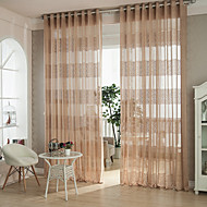 Two Panels Modern Geometic Coffee Living Room Polyester Sheer Curtains Shades