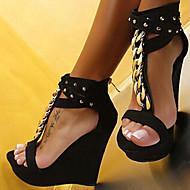 נשיםדמוי עור-פלטפורמה-שחור-שטח שמלה יומיומי-עקב וודג' פלטפורמה