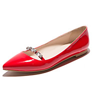 Women's Shoes Patent Leather Flat Heel Pointed Toe Flats Wedding / Party & Evening / Casual Black / Red / Almond