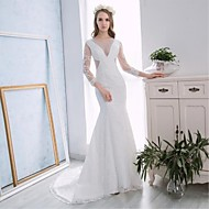 Trumpet/Mermaid Wedding Dress - White Chapel Train Halter Lace / Satin