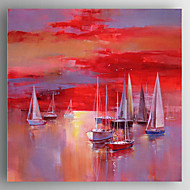 Oil Painting Red Boat  Hand Painted Canvas with Stretched Framed Ready to Hang
