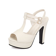 Women's Shoes Rubber Chunky Heel Heels / Peep Toe / Platform Sandals / Heels Outdoor / Casual Black / Pink / White