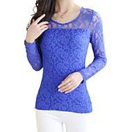 Vrouwen Lente T-shirt Effen / Patchwork Ronde hals Lange mouw Blauw / Rood / Wit / Beige / Zwart / Geel Katoen / Spandex / Overige Medium