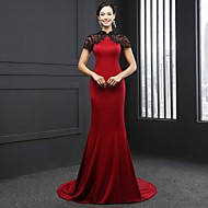 Formal Evening Dress Trumpet / Mermaid High Neck Chapel Train Satin with Lace