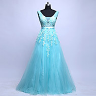 Cocktail Party / Formal Evening Dress - Sky Blue  V-neck Sweep/Brush Train Tulle