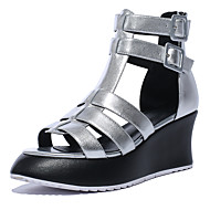 Women's Shoes Cowhide / Leather Wedge Heel Peep Toe / Platform / Fashion Boots Sandals Outdoor Silver