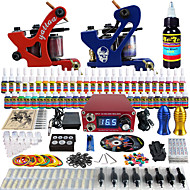 Solong Tattoo Complete Beginner Tattoo Kit 2 Pro Machines 54 Inks Power Supply Needle Grips Tips TKB14