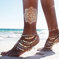 2Pcs Women's Gold Barefoot Sandals Beach Wedding Jewelry Tribal Foot Chain Multi Tassel Anklet Chain