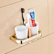 מחזיק למברשת שיניים / גאדג'ט לאמבטיה Ti-PVD התקנה על הקיר 7.9*3.7*1.1 inch פליז ניאוקלאסי