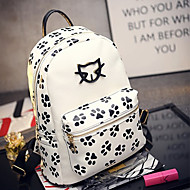 Women PU Sports / Casual / Shopping Backpack White / Black