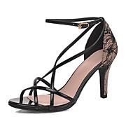 Women's Shoes Leatherette Stiletto Heel Heels Sandals Wedding / Party & Evening / Dress Black / White