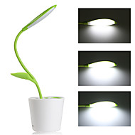Dimmable LED Desk Lamp 3-Level Dimmer Flexible Table Light + 5V/1A USB Charging Port + Plant Pen Holder (Green)