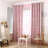 Two Panels Pink Kids  Blackout Printing Curtain