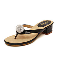 Women's Shoes Leatherette Chunky Heel  Slingback Sandals Dress / Casual Black / White