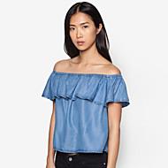 Women's Solid Blue T-shirt,Boat Neck Short Sleeve