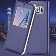 Varten Samsung Galaxy S7 Edge Ikkunalla / AutomAutomaattinen auki/kiinni / Flip Etui Kokonaan peittävä Etui Yksivärinen Tekonahka Samsung