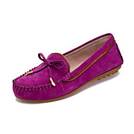 Women's Shoes Leather Flat Heel Comfort / Round Toe Flats Office & Career / Dress / Casual Black / Pink / Purple / Red