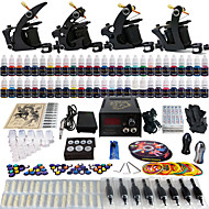 Solong Tattoo Complete Tattoo Kit 4 Pro Machines 54 Inks Power Supply Foot Pedal Needles Grips Tips TK457