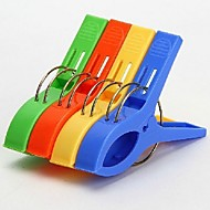 4pcs Powerful Laundry Clips Large Windproof Clip Cotton Quilt Clothing Plastic Clothespin Clips(Ramdon Color)