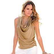 Women Tank Top Drape Neck Sleeveless Solid Color Vest T-Shirt Top
