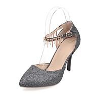 Women's Shoes Leatherette Stiletto Heel Heels Heels Wedding / Office & Career / Party & Evening Black / Silver / Gold