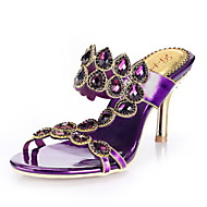Women's Shoes Leather Stiletto Heel Heels Sandals Party & Evening / Dress / Casual Pink / Purple / Gold