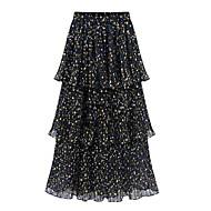 Women's Polka Dot Multi-color Skirts , Street chic Maxi