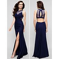 TS Couture® Formal Evening Dress - Dark Navy Plus Sizes / Petite Sheath/Column Jewel Floor-length Chiffon
