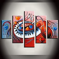 handgemalte Gemälde-Herz-Tanzmusik abstrakte Gemälde mit gestreckten Rahmen Satz von 5