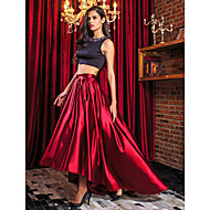 TS Couture® Formal Evening Dress - Two Pieces A-line Jewel Asymmetrical Stretch Satin with Beading