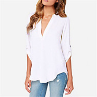Tee-shirt Aux femmes Couleur Pleine Manches Longues Col en V Acrylique / Polyester
