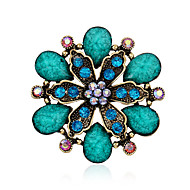 Alloy/Resin/Rhinestone Brooch/Retro Exaggerated Drop Flower Brooch//Daily/Party/Casual 1pc