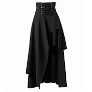 Women's Solid Black Skirts , Sexy / Street chic Asymmetrical