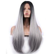 mode syntetiska peruker spets front peruker med lang rak svart blandat grått värmebeständigt hår peruker kvinnor