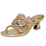 נעלי נשים - סנדלים - עור - עקבים - סגול / זהב - שמלה / קז'ואל / מסיבה וערב - עקב עבה