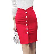 Women's Medium Style Package Front Open  High Waist  Office Lady Business Dress Skirts