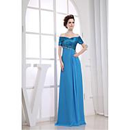 Formal Evening Dress-Pool Sheath/Column V-neck Floor-length Chiffon / Charmeuse